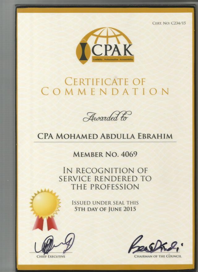 Cert of Commendation ME
