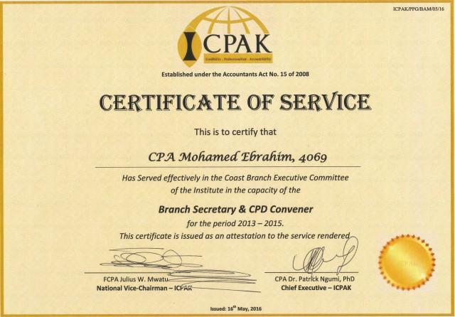 ME cert of Service as ICPAK Branch secretary