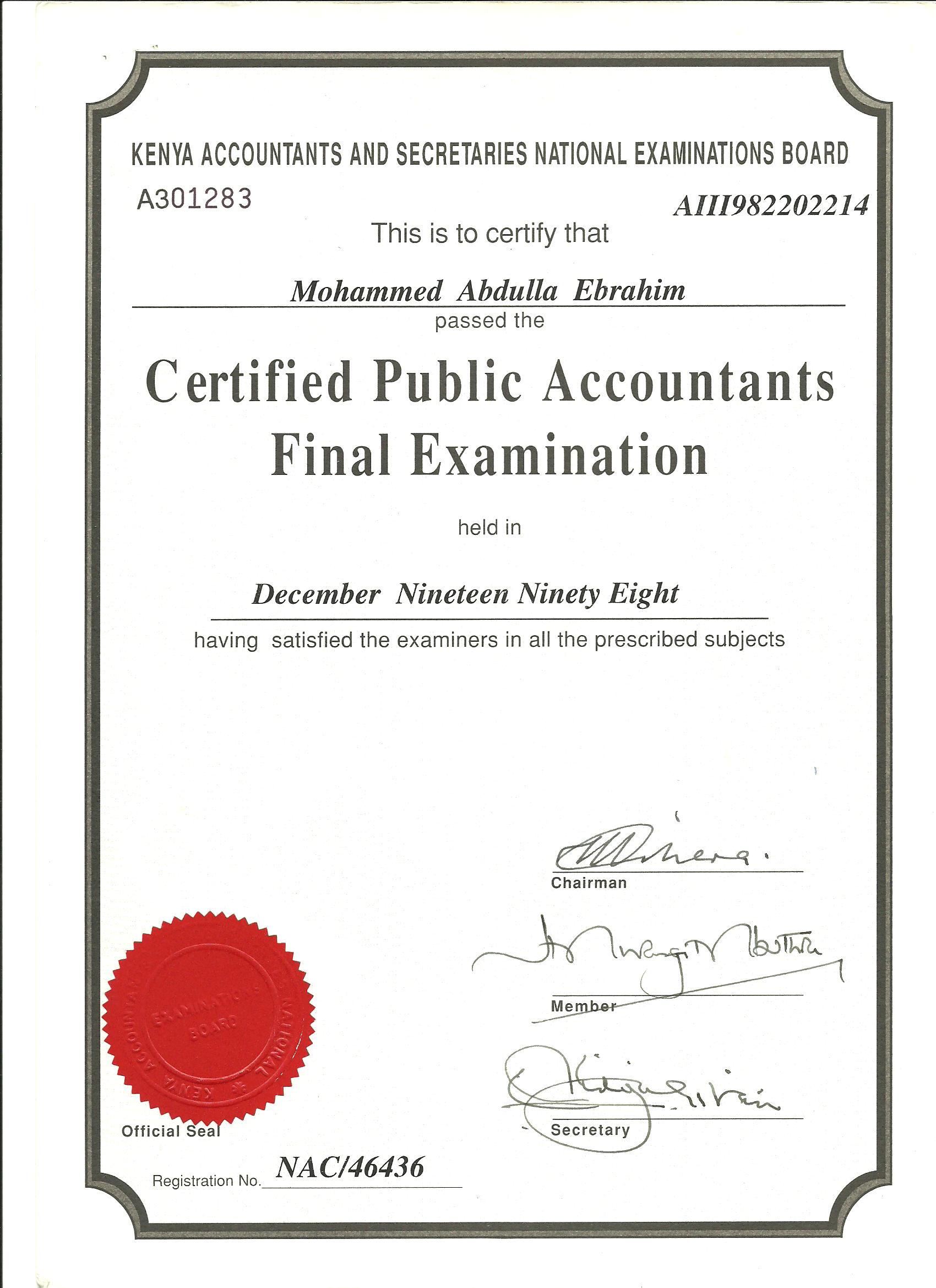 Know cpa mohamed ebrahim through his achievements pictures cpa cpa final cert 001 1betcityfo Choice Image